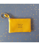 Vintage Leather Coin Change Purse Thank You SUN Volunteer Zipper Gold - $19.75