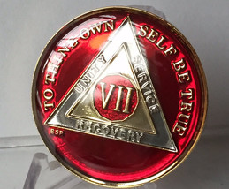 7 Year Mandarin Red AA Alcoholics Anomymous Medallion Chip Coin Gold Tri... - $25.99