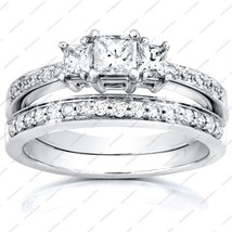 Engagement And Wedding Band Bridal Set In White Platinum Plated 925 Silver - $90.99