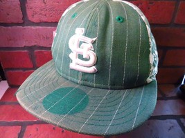St Louis CARDINALS Green White Distressed Fitted Size 7 1/8 Hat Adult Cap - $5.93