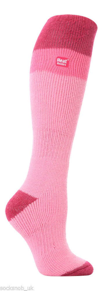 Ladies Heat Holders Graham Bell Ski Socks Baby Pink with rasberry stripe