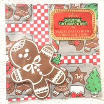 VTG Hallmark Christmas Gift Wrap Wrapping Paper Tag Bake Gingerbread Cookies NOS - $23.16