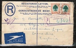 SOUTH AFRICA JOHANNESBURG to ENGLAND UPRATED REGISTERED AIRMAIL COVER  (... - $14.80