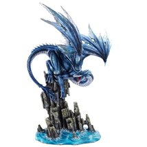 Large Blue Dragon Protecting the Cove Collectible Figurine 18 Inch - ₨6,674.19 INR