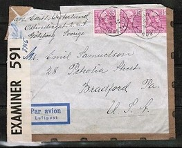 "SWEDEN Scott #306 (3) on AIRMAIL ""CENSOR"" COVER to BRADFORD,PA. USA  (OS... - $5.94"