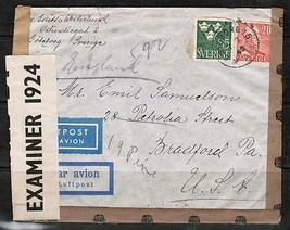 "SWEDEN Scott #281 + 283 on AIRMAIL ""CENSOR"" COVER to BRADFORD,PA. USA  (... - $5.94"