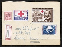 BELGIUM  Scott B 645 & 6 on COVER TO FRANCE FROM BRUSSELS (13/8/59)  (OS... - $8.85