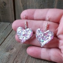 Pink Heart Resin Glitter Earrings - $11.64
