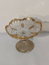 1902 Heisey 335 Glass Prince of Wales Plumes Gold Rim Footed Flat Compote  - $93.49
