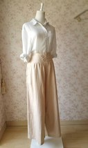 Khaki High Waisted Plus Size Linen Wide Leg Pants Women Crop Palazzo Pants NWT image 4