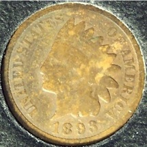 1893 Indian Head Penny G4 #0306 - $1.99