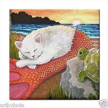 Ceramic Tile Coaster Cat Mermaid 26 Turtle ocean sea sunset art painting... - $12.99