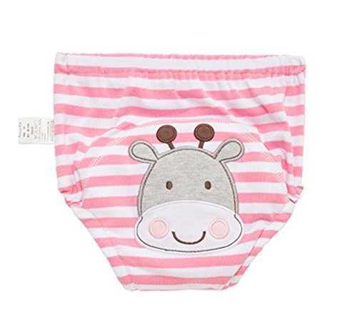 2 Pieces Of Breathable Baby Study Pants Diapers with PINK Cow Pattern