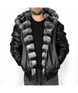 Mens Reversible Hooded Chinchilla Leather Bomber Jacket - $4,455.00