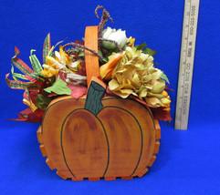 Pumpkin Basket Centerpiece Artificial Floral Decor Wood Fall Autumn Than... - $31.03