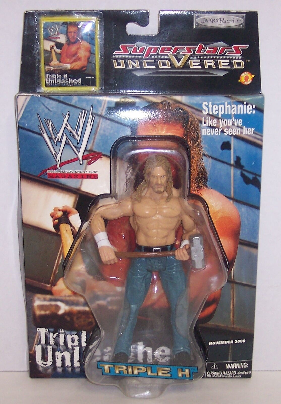 "New! 2002 Jakk's Superstars uncoVered ""Triple H"" Action Figure WWF WWE [784] image 1"