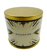 Illume Holiday Large Tin Luxury Soy Candle Woodfire 11.8 Oz Holiday Scen... - $24.74