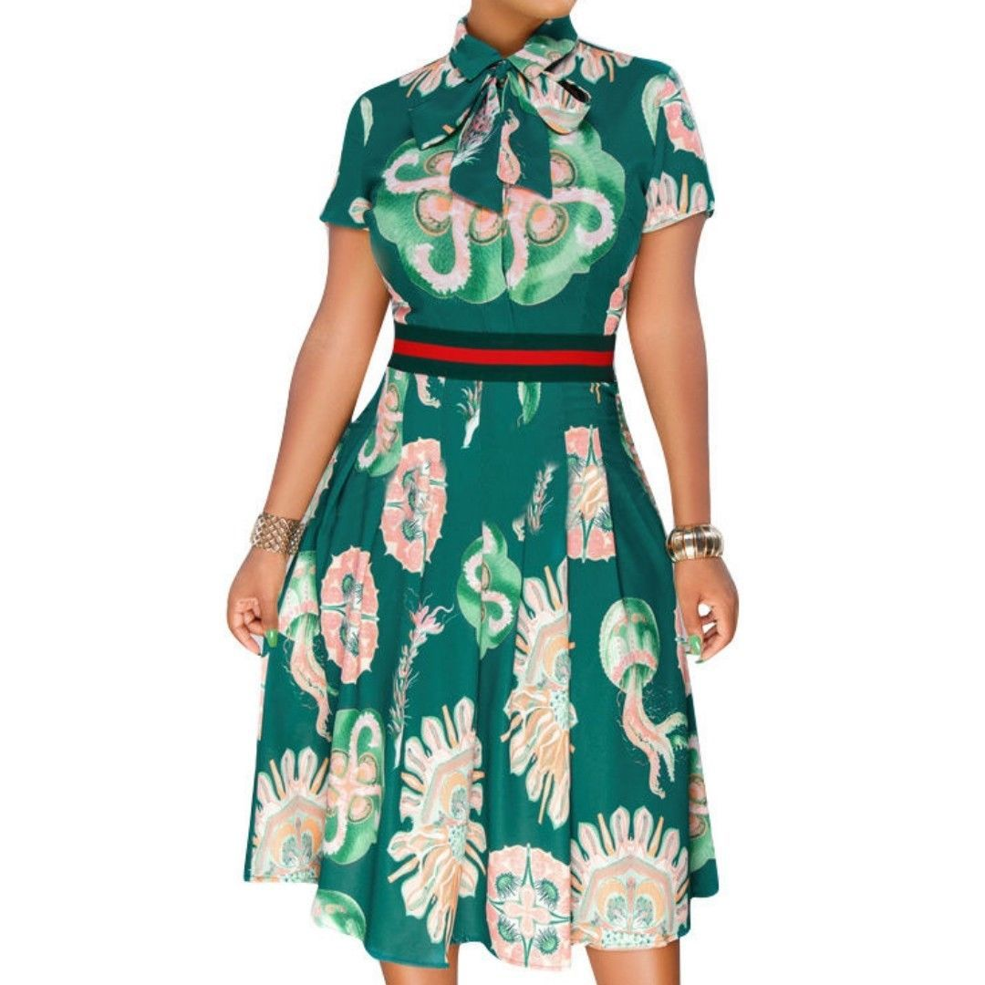 Casual Bow Tie Fit Flare Knee Length Green Short Sleeve Dress SMALL