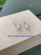 18K Gold Akoya pearl earrings,Natural  white AAA Akoya Pearl 7-7.5mm Studs - $90.00