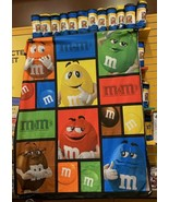 """New M&M's World Big Face Characters Fleece Blanket 59x60"""" Times Square C... - $28.21"""