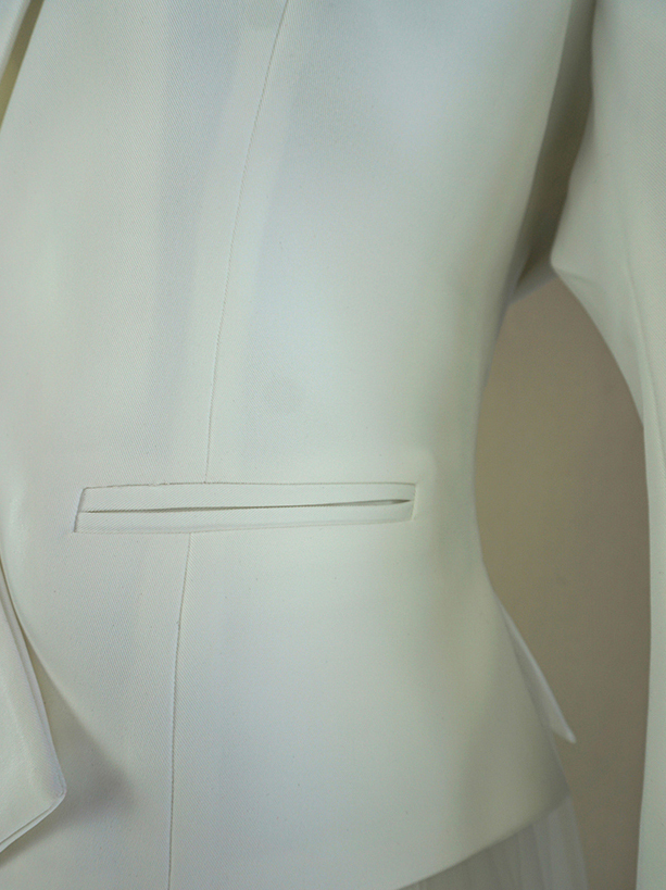 IVORY WHITE Women's White Suit Jacket White Asymmetrical Collar Blazer Wedding
