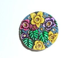 """Cheery & Colorful Art Stone Flower Floral Shank Button  1-1/8"""" Pretty Fl... - $10.99"""