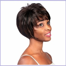 Black Brown Short Straight Hair with Long Bangs Pixie Style Cut Full Lace Wig image 4