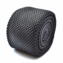 plain dark grey skinny knitted tie with flat end by Frederick Thomas FT267