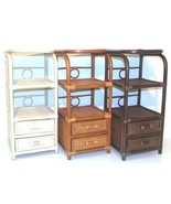 Natural Rattan Wicker Handmade Bookcase w/2 Drawers and w/3 Shelves - $139.99