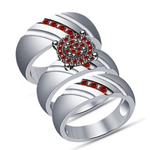 14K White Gold Over 925 Pure Silver Red Garnet His And Her Trio Ring Set - $152.99