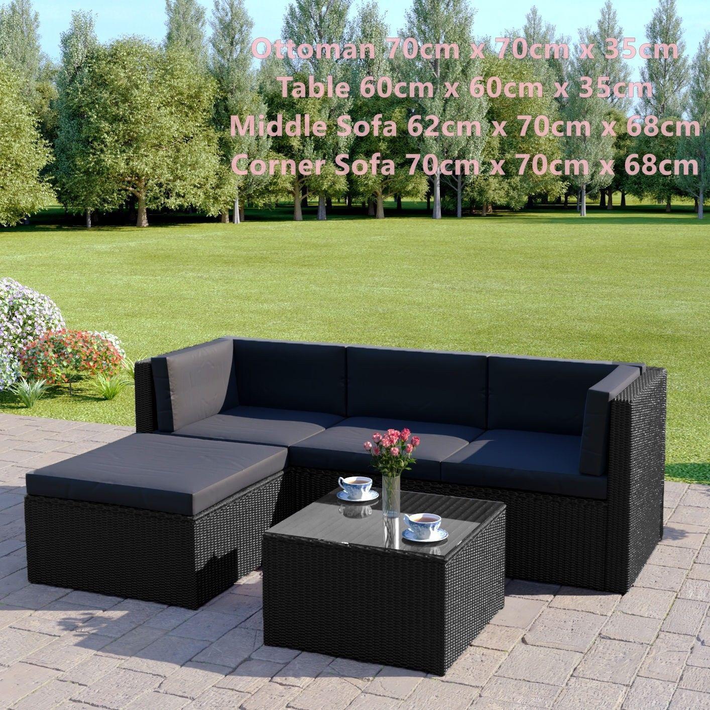 Black Rattan Sofa & Stool Set Modular Outdoor Garden Furniture Dark Cushions New image 5