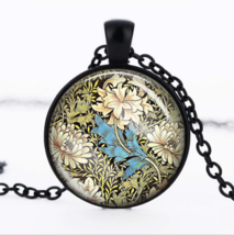 FLOWER CABOCHON NECKLACE  (13522)  >> USA SELLER  - $2.97