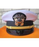 US NAVY LINE OFFICER WHITE CURRENT UNIFORM VISOR HAT CAP NEW ALL SIZES -... - $79.00