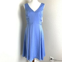 Modcloth Fit & Flare V Neck Bow Smocked Back Dress Size Medium Blue Slee... - $49.49