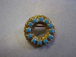 VERY SMALL GOLD COLOR CIRCLE PIN WITH TURQUOISE BEADS ON CIRCLE - $9.89