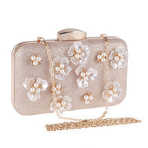 Women Fashion Clutch Bag Handbag Dinner Package Flower Pearl Rectangle A... - $550,58 MXN