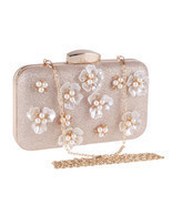 Women Fashion Clutch Bag Handbag Dinner Package Flower Pearl Rectangle A... - $463,17 MXN