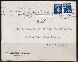 NORWAY Scott #103(2) COMMERCIAL REGISTERED COVER to New York (21/1/25)  ... - $7.92