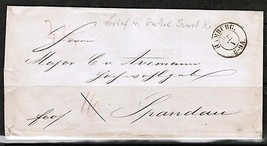 GERMANY 1800's STAMPLESS COVER HAMBURG to SPANDAU---WAX SEALS  (OS-225) - $5.94