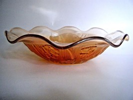 "Iris & Herringbone Carnival Glass Ruffle Edged Salad Fruit Bowl 9.5"" - $12.82"