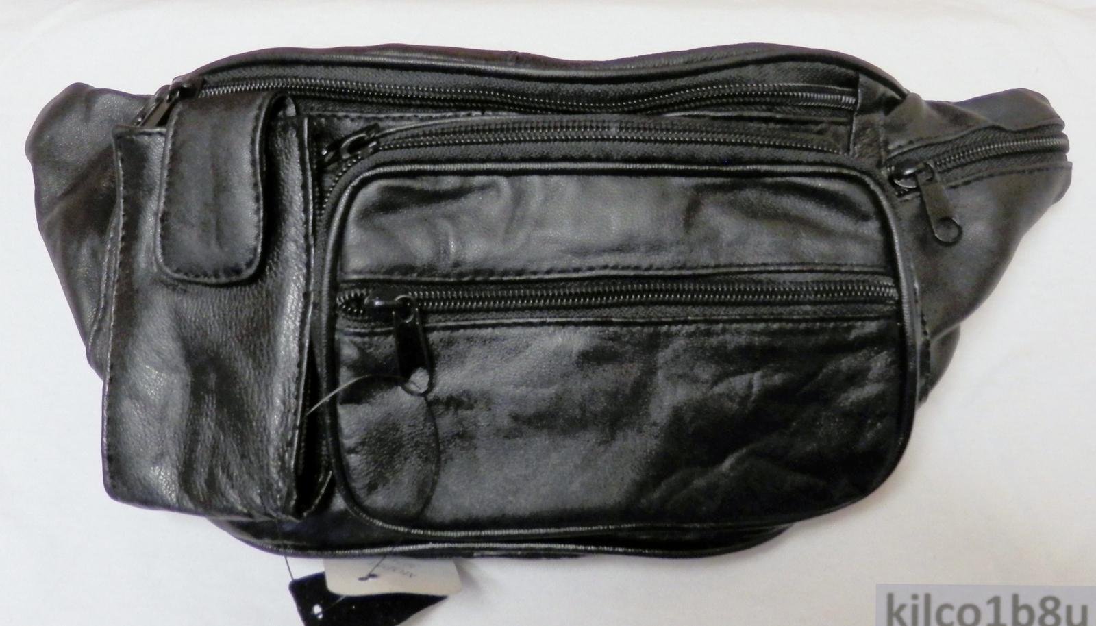 Genuine Lambskin Leather Fanny Pack - #3074 - BLACK