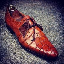 Handmade Men's Brown Crocodile Texture Leather Dress/Formal Oxford Shoes image 3
