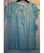 Women's Size Small indigo Turquoise and White Tie Dye Knit Shirt Sleeves... - $24.99