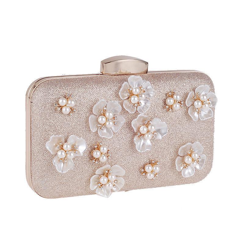 Women Fashion Clutch Bag Handbag Dinner Package Flower Pearl Rectangle Apricot