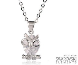 Made with Swarovski Elements Crystal Clear Owl Pendant and Necklace - £35 - $11.28