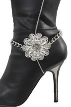 Shiny Silver Women Boot Chain Anklet Bracelet Heel Shoe Big Flower Charm Jewelry - $16.64