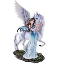 Beautiful Fairy Embracing Gentle Pegasus Figurine Collectible 11 Inch - £39.18 GBP