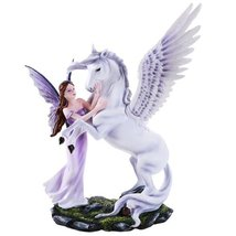 Beautiful Fairy Embracing Mighty Pegasus with Open Wings Figurine Collec... - £42.75 GBP