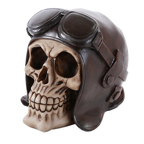 Skull Wearing Vintage Aviator Brown Leather WWII Hat Collectible - $15.44