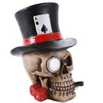 Poker Skull Ace Spades Top Hat Casino Dice Poker Game Skull Gambler Figurine Gif - $9.90